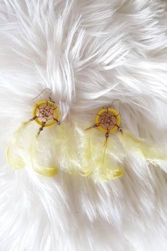 Pendientes plumas amarillas