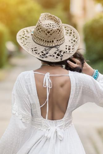 Sombrero cuentas turquesa