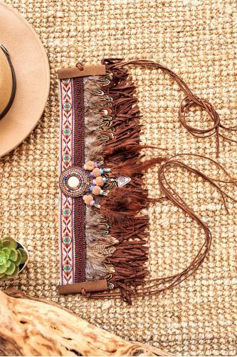 Cinturón boho de plumas marron