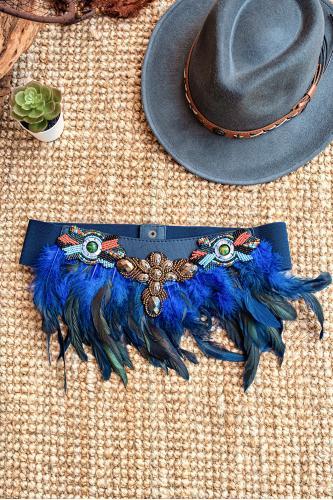 Cinturón boho de plumas y...