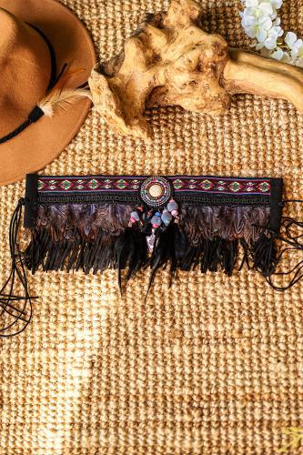 Cinturón boho de plumas