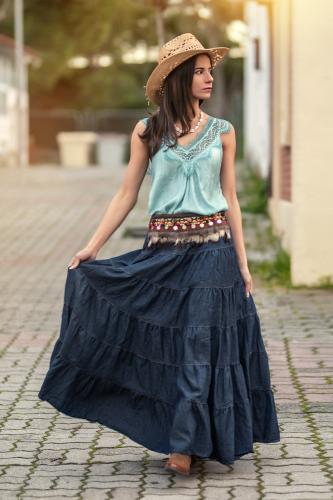 Falda Boho Denim