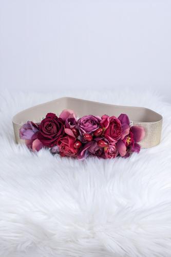 Cinturón Flores burdeos